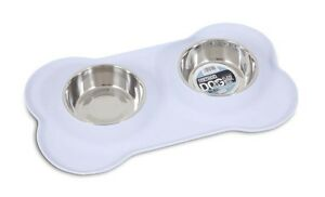 WET NOZ FLEXI DUO BOWLS - Silicone Mat Stainless Steel Bowls Sets in Easy Wash