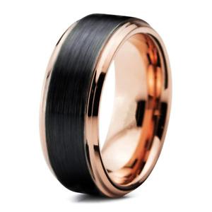 Mens Womens ROSE GOLD black brushed ring band xmas gift wedding engagement R159