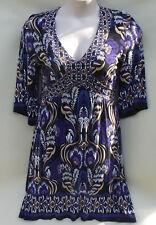 Dorothy Perkins size 14 boho print dress with sleeves v neck purple & black