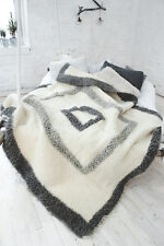 Queen Size Bed Blanket White Wool Throw Sofa Cover Hand Woven Plaid Wedding Gift