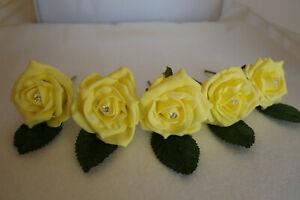 20 Rose Diamante Buttonholes Wedding Groom, Best Man, Guest 28 Colours