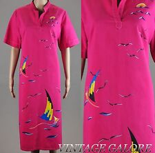 VTG 60s 70s pink hand painted Long MOD shift beachy secretary gown dress  sz 46