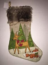 Christmas Holiday Stocking Burlap Woodland Forest Deer & Fox Faux Fur