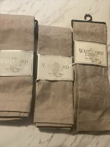 """Waterford Linens Cloth Napkins 21"""" X 21"""" Platinum Gray Set of 3 Packages 6 Total"""