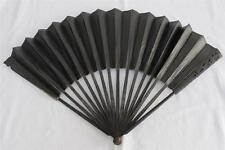 Antique 18TH siècle GEORGIAN Floral Carved Ebony deuil Fan c1790