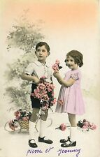 Little Children Portrait~Boy & Girl Decorate With Flowers~Colorized RPPC~1940