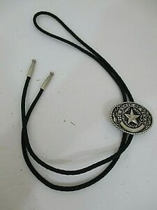 The State Of Texas Star Ranger Handcrafted Bolo Tie Black/Silver Braided Cord