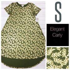 LuLaRoe Elegant Carly Dress S Green Gold Leaves