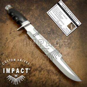 IMPACT CUTLERY RARE CUSTOM D2 PREDATOR COMBAT BOWIE KNIFE BULL HORN HANDLE