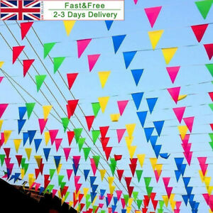 100M Triangle Flags Bunting Banner Pennant Festival Wedding Party Garden Decor