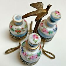 French Victorian~3 Hand Paint Porcelain~Miniature Scents~Swallow Bird Holder