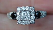 New 14K S6 1.3ct 3Stone Real Princess Diamond Sapphire Halo Engagement Ring Gold