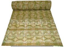 Green Kantha Quilt Block Gudri Handmade Twin Bedspreads Throw Ralli