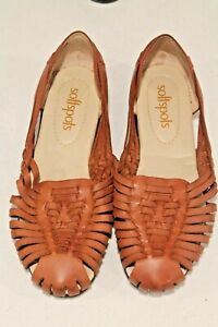 Softspots Shoes Women's size 9.5W Brown Leather Woven Slip-on Flat