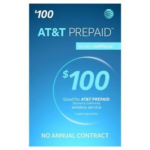 AT&T GO PHONE $100 Refill! Credit applied DIRECTLY to PHONE