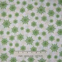 Christmas Fabric - Holiday Magic Green Snowflake Toss on White - Windham YARD