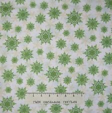 Christmas Fabric - Holiday Magic Green Snowflake Toss on White - Windham YARD