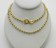 "Italian 750 (18k) Two Tone 2.5 mm Bead Fancy Chain Necklace 14.1 gr 23.5"" lg"