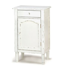 HOME DECOR WHITE WOOD TABLE CABINET DISTRESSED FINISHED