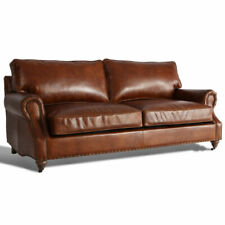 MarquessLife Luxury Antique 3Seater Sofa Couch 100%Genuine Aged Leather Hamdmade