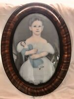 "24"" Antique Tiger Paint Oval Bubble Child Doll Primitive Painting Picture Frame"