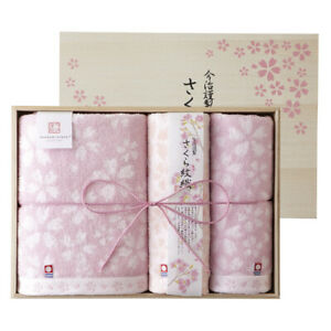 IMABARI KINSEI Sakura Monori Bath & 2pcs Face Towel Wooden Box set Made in Japan