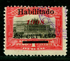 "PARAGUAY  1908 Governmental Palace -HABILITADO- Sc#172 ""CETTAVO"" ERROR"
