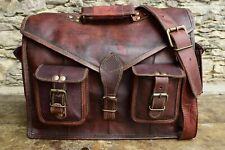 """Men'S Genuine Brown Leather Laptop Messenger Shoulder Briefcase 18"""" Inch Bag"""