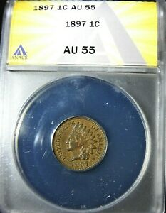 1897 USA Indian Head Small Cent ANACS AU 55 Condition  (916)