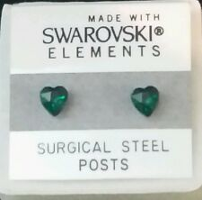 Green Heart Stud Earrings 5mm Small Crystal  Made with Swarovski Elements Gift