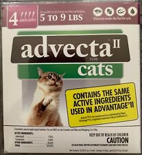 NEW ADVECTA II FOR SMALL CATS 8 WEEKS & OLDER 5-9 LBS 4 DOSES 4 MONTH SUPLY BUY