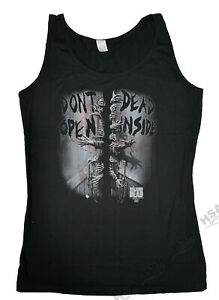 Ladies Walking Dead Black Vest Top, Zombie,Dont Open Dead inside, Christmas Gift