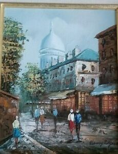 French Artist HENRY ROGERS Paris Street Scene Signed Oil Painting on Canvas NICE