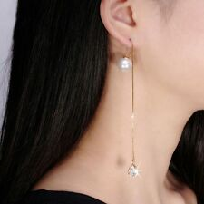 Crystal Gold Plated Long Chain Pearl Water Drop Shape Dangle Earrings