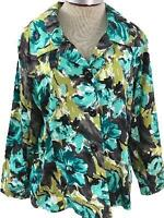 RQT Woman blazer size 1X long sleeve button down teal green black floral