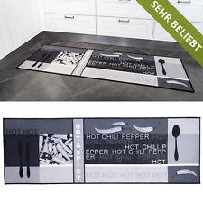 Küchenläufer Teppichläufer Chili Grau Läufer Modern Küche Teppich Waschbar
