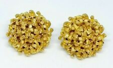 Crown Trifari Modernist Brutalist Mid Century Flower Clip Earrings