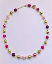 Stunning Mixed Pinks & Peridot Green Glass Pearl & Crystal Necklace