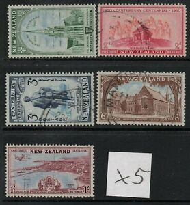 X5 ; NZ 1950 CANTERBURY CENTENNIAL ; COMPLETE SET/5 - FINE-USED