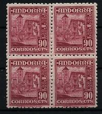 ANDORRA ESPAÑOLA Nº 53**  BLOQUE 4 SELLOS 90 CENTIMOS 1948