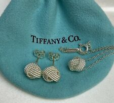 $475 Tiffany & Co Sterling Silver 925 10mm Twist Knot Rope Earring & Pendant Set