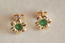 New Ladies 9ct 9Carat Yellow Gold Flower Emerald Studs Earrings 7mm Hallmarked