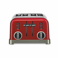 Cuisinart Metal Classic Toaster 4 Slice Metallic Red Kitchen Bread Bagels New