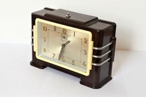 SUPERB ORIGINAL 1930s FRENCH ART DECO Jaz CHROME & BAKELITE MANTLE ALARM CLOCK
