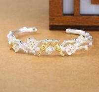 Fashion Damen Armband Silber 925 Armreif Einstellbar Vogel Pflaumeblüte Geschenk