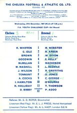 Chelsea v Arsenal programme, FA Youth Cup 3rd Round programme, December 1967