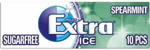 Wrigley's Extra Ice Spearmint Sugar free Chewing Gum 10 pieces Pack of 30