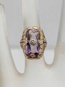 Antique 1920s 6ct Natural Amethyst Diamond 14k White Gold Filigree Ring