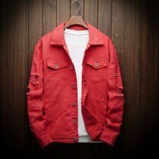 Men Distressed Ripped Denim Jacket Blazer Casual Retro Trucker Jean Coat Top New