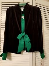 JESSICA HOWARD 2 pc Black Velvet Womens Jacket Green Top Sz 6